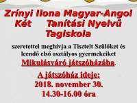 Mikulásváró játszóház a Zrínyi Ilona Magyar-Angol Két Tanítási Nyelvű Tagiskolában